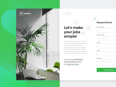 Request Demo Page layout input form ui web flat design