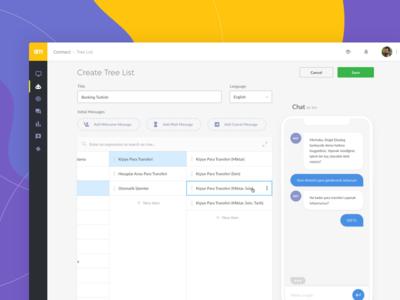 Chatbot Admin Panel dashboard panel chat chatbot nlp tree list finder node list
