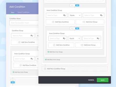Query Builder (Condition/Rule Editor) query builder ux ui filter builder query rule condition