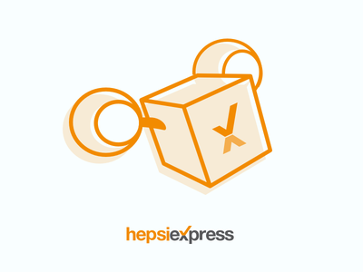 Hepsiexpress Flying Box Illustration orange shipping cargo box icon hepsiburada illustration