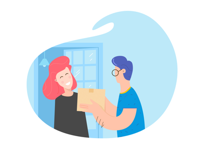 Give her a gift 🎁 blue ui flat cargo delivery illustration gift box gift