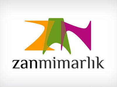 zan mimarlık logo architecture zan mimarlık logo type orange typography color purple green typographic