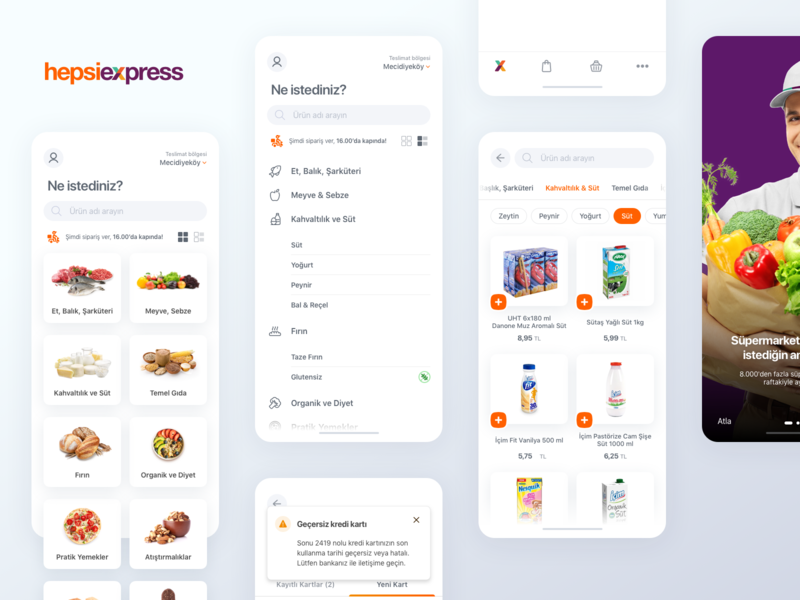 Grocery App hepsiburada hepsiexpress mobile mobile app flat minimalist select product delete checkout tabbar homepage onboarding listing basket grocery app grocery