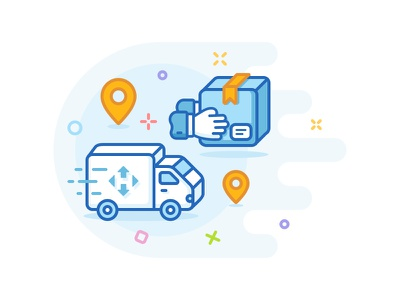 MBE Style - Delivery  snickdesign icon delivery set illustration mbe style