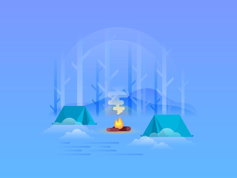 Winter Camp vector illustrator design illustration freezing fire bon fire relaxing cold camp winter
