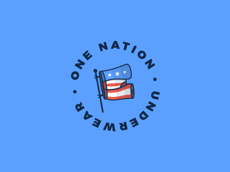 One Nation Underwear funny humor patriotic country usa america illustration sticker design logo underwear stickermule