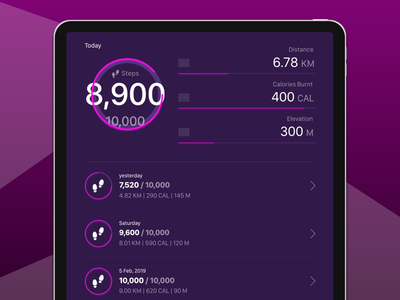 Fitness Tracker interface concept mockups adobe xd user experience user interface ui ux ipad pro ios fitness app fitness tracker design app design