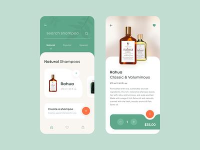 Natural Shampoo Store App care ui design perfume app perfume concept illustraion project creative minimalist minimal flat e commerce shampoo natural ux ui mobile design mobile app design app