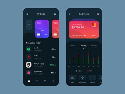 Banking App statistics wallet mobile banking app dark ui money clean ui data transaction credit card banking app banking finance app finance bank app bank mobile ui mobile app design app