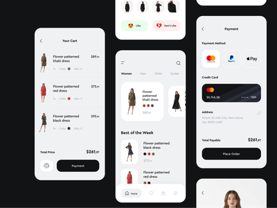 Clothing App e commerce shop app cart payment method payment ui interface mobile app app design creative minmal jean style clothing app clothing dress dresses e-commerce app e-commerce ecommerce