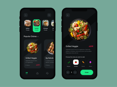 Food Delivery App interface delivery ecommerce restaurant dark ui minimal clean product food delivery app delivery app vegetables online shop food app food ui ui design mobile app design app design app mobile ui