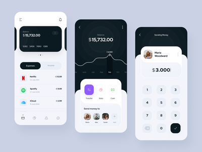 Banking App minimal payment ui transaction statistic money mobile banking app mobile data clean wallet finance app finance credit card banking app banking bank app bank app design app