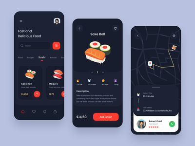 Food Delivery App 3d food delivery service clean sushi pizza delivery app delivery food app food order mobile app design minimal project dark design interface mobile app ux ui