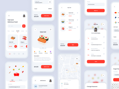 Food Delivery App mobile app design ui ux app ui8 template ui kit 3d app design delivery app delivery design food food app food delivery service pizza order restaurant project ui8net