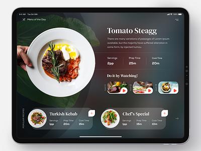 Recipe App interactive blur creative design ux ui interface flat project concept restaurant eat food app mobile ipad design uidesign ipad recipe app recipe