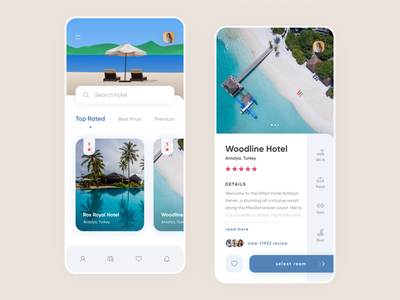 Hotel Booking App illustration flat app minimal concept clean interface ecommerce reservation ui ux ux ui hotel booking mobile design app design design booking app hotel app booking hotel