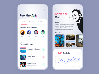 Art App Concept statistics silver clean user interface ux app minimalist illustraion ui painter salvador dali concept mobile ui app design mobile art app artist artwork art