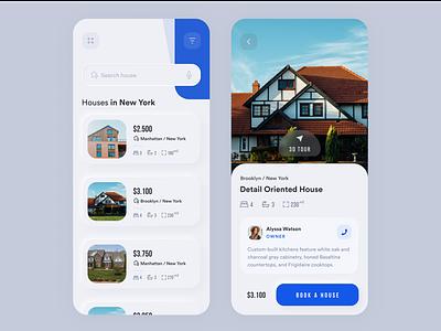 Real Estate App booking ux ui neomorphism skeuomorph concept project interface app design mobile app mobile ui mobile business clean house rental app rental rent real estate app real estate