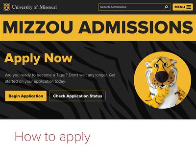 Admissions 2016 Redesign website admissions mizzou