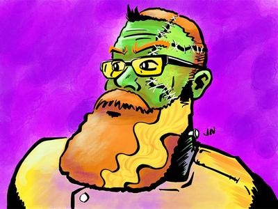 Groom of Frankenstein halloween avatar procreate ipad pro illustration frankenstein