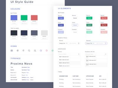 Style Guide whitespace dropdown table stylesheet purple elements ui colors guide style