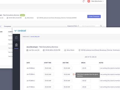 Timesheet Application Worker Login purple design day data web date time worker timesheet