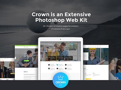 Crown is an Extensive PSD Web Kit site elements web elements site templates site template psd template ui ux ui kit web kit
