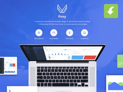 Foxy Free Admin Panel / Dashboard UI Kit  popular trend ui free download psd dashboard ui elements admin panel ui kit freebie freebies
