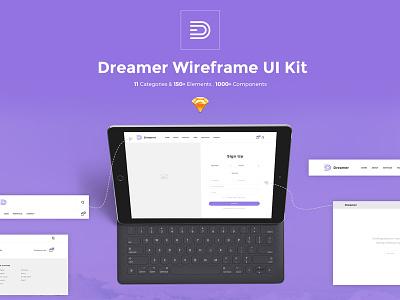 Dreamer Wireframe UI Kit for Sketch App site template web elements web elements 2017 new ui ui kit freebie sketch