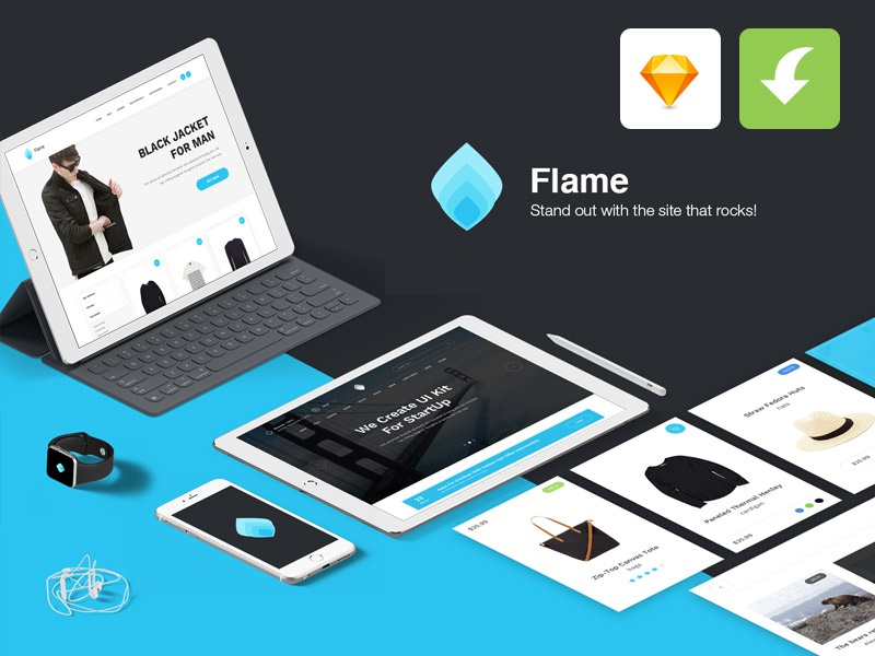 Flame UI Kit for Sketch App (FREE) ux sketch app sketch site elements ui elements web elements ui kit freebies ui sketch freebie sketch freebie