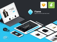 Flame UI Kit for Sketch App (FREE)