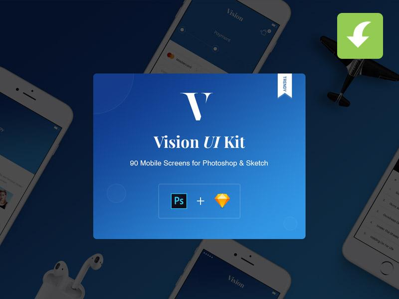 Vision Mobile UI Kit for Apps app ux mobile ui trendy new psd sketch freebies freebie