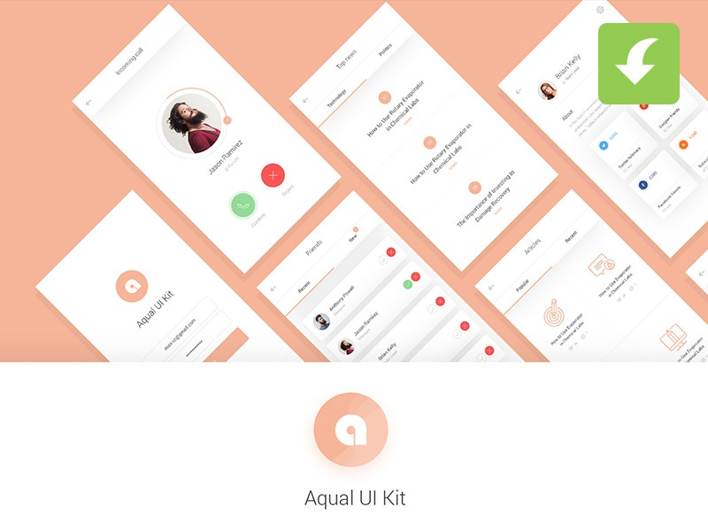 Download Freebie Aqual Mobile UI Kit for Social Networking Apps