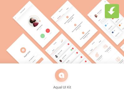 Freebie Aqual Mobile UI Kit for Social Networking Apps mobile app apps trendy 2017 new freebies freebie ui kit