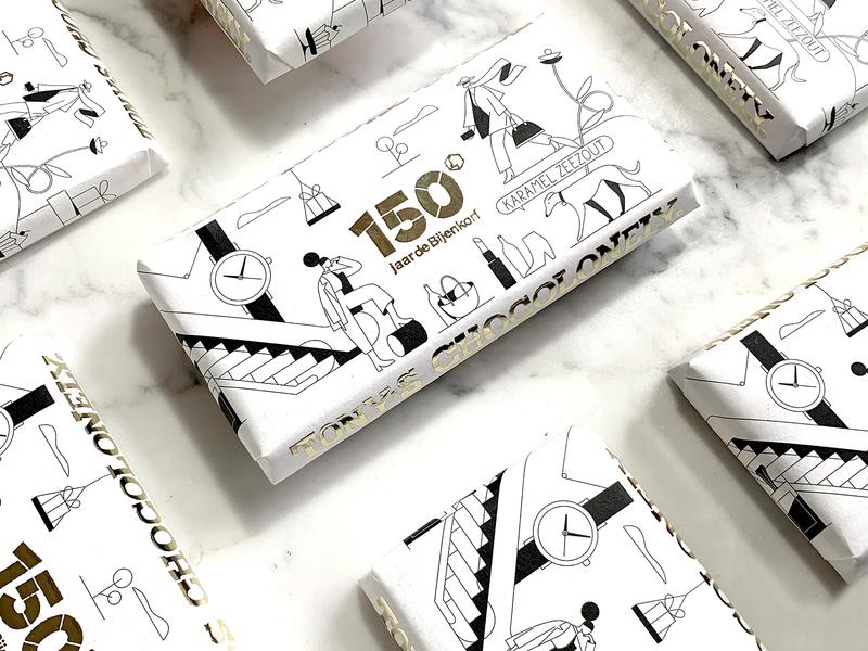 Department Store beehive bijenkorf 150 celebration anniversary identity tote shopper wrap chocolate