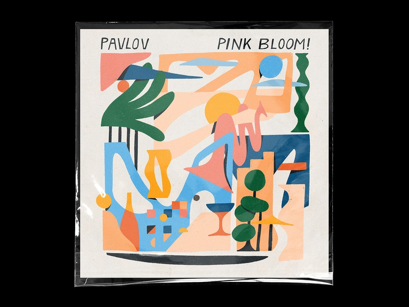 Pink Bloom! coverart album cover album music electronic keyboard drums blobs shapes foliage flowers mediterranean trumpet jazz bloom pink pavlov