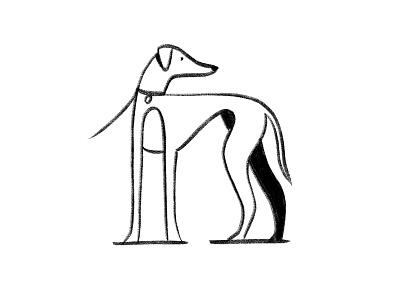 Greyhounds tangled longnose snoot long black  white black print dogs greyhounds lanky
