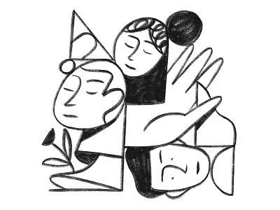 Random hand faces chalk doodle