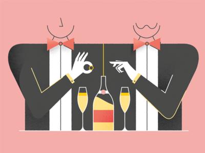 Same-sex Marriage bowtie champagne couple symmetry marriage same-sex