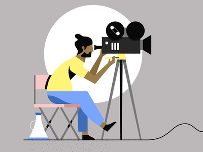 Regisseur film camera megaphone chair movieset director