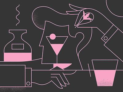 Cocktail linework bartender cocktail olive eye