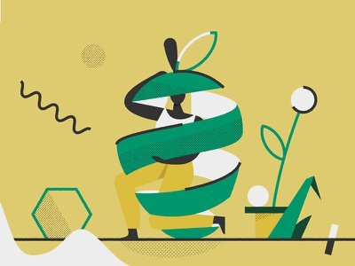 Apple plant inside character lifestyle health peel apple