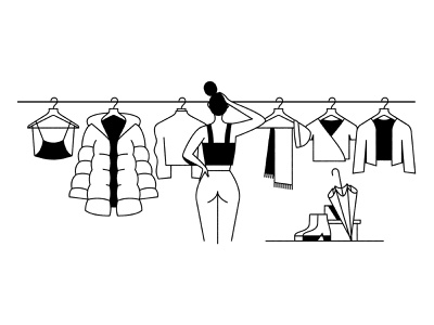 Sketchbook umbrella scarf puffy coat wintercoat bikini hangers rack clothes