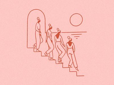 Escalier down steps horizon sun stairs