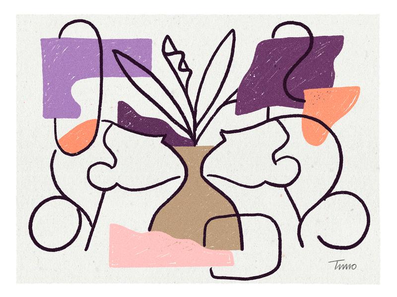 Obsession blobs shapes ambigous faces plant
