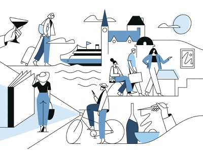 the New York Times Journeys tourists photography photo bicycle biking shopping books art guide drinks food ramen medieval building cruise suitcase traveling journeys journey
