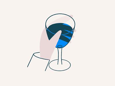 Glass blue water drink hand wine glass