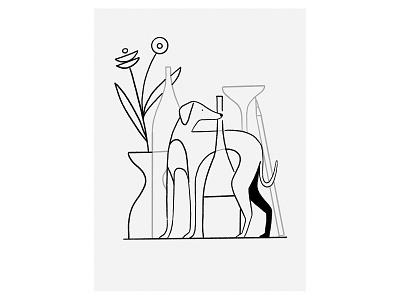 Good boy whippet pencil watching standing plants glasses studio goodboy greyhound dog