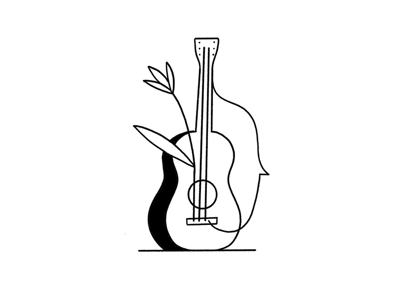 Bloom everpress artist music silhouette face flower string acoustic guitar bloom