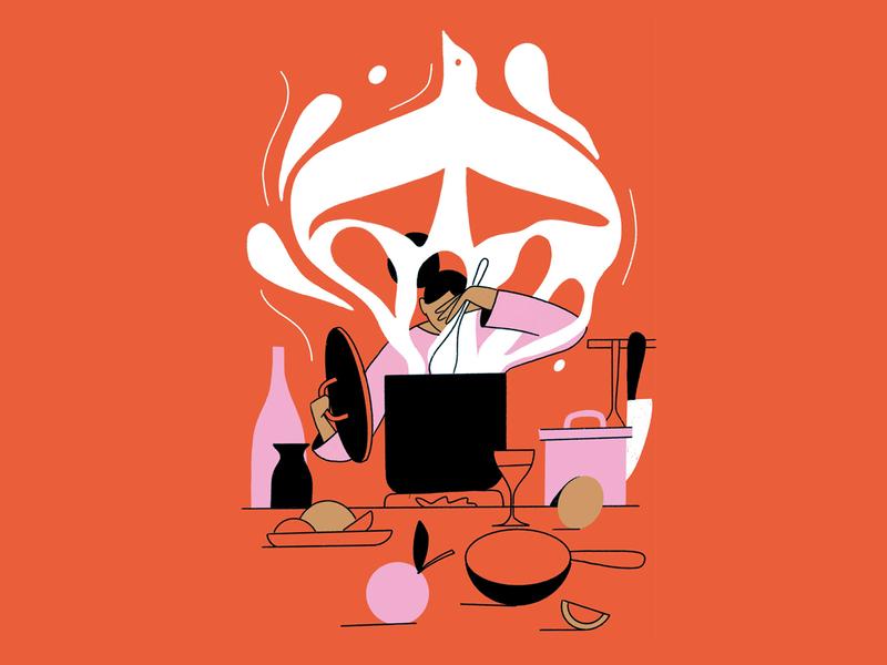 Cooking soup spoon lime onion bottles knife ingredients wine pots pan bird smoke cooking